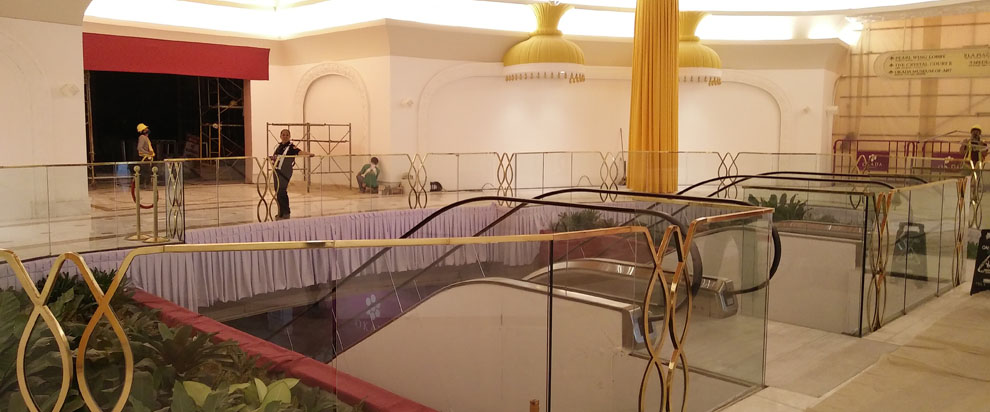 Glass Railing Gold Plated Frame