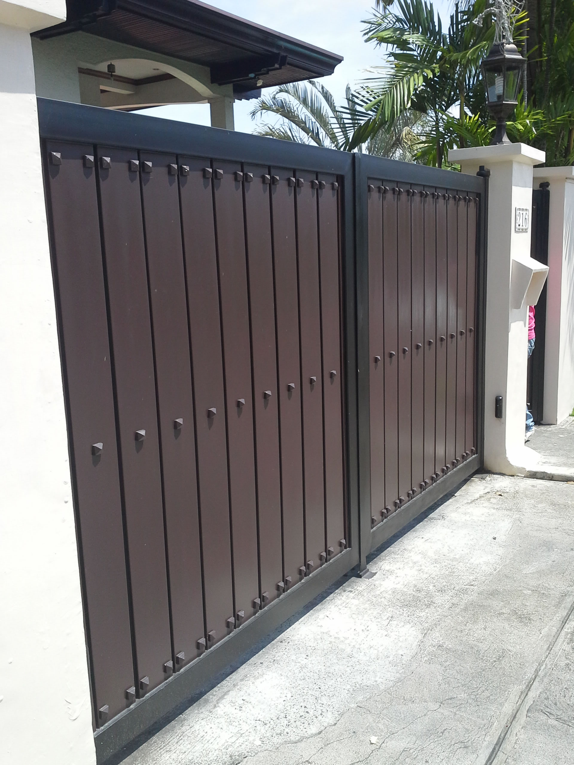Steel And Wood Gate Cavitetrail Glass Railings Philippines Tempered Glass Wrought Iron Railings Gates Grills Metal Fabrication Curved Glass